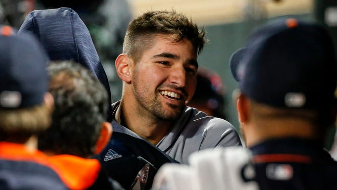 Nick Castellanos celebrates his two-run homer against the Twins in the first inning on Sept. 29, 2017 in Minneapolis.
