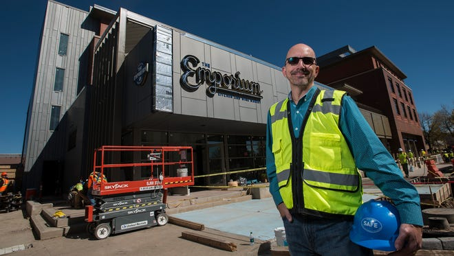 Construction continues as general manager Scott Sloan poses for a portrait, Thursday, Oct. 5, 2017, in front of The Elizabeth Hotel construction site at 111 Chestnut St. in Old Town Fort Collins.