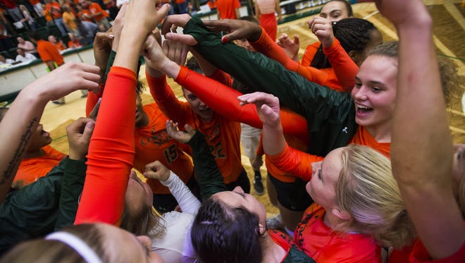 The CSU volleyball team, shown here celebrating a win over Michigan earlier this season, was celebrating Thursday night after beating Boise State on the road.