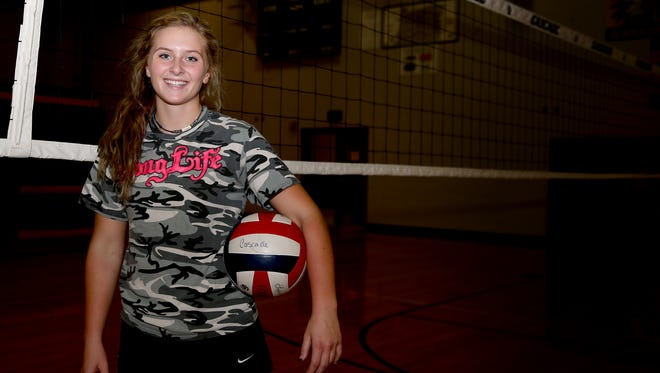 Tori Lewis, a senior volleyball player for Cascade. Photographed at Cascade High School in Turner, Ore., on Wednesday, Oct. 4, 2017.