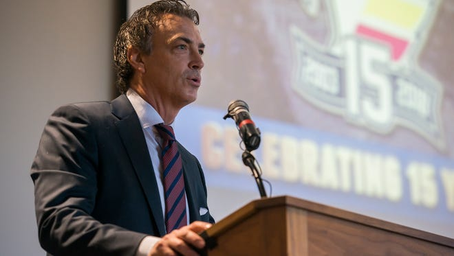Colorado Avalanche executive vice president Joe Sakic speaks speaks to a gathered audience during a press conference to announce the Colorado Eagles' move to the American Hockey League, Tuesday, Oct. 10, 2017, at the Budweiser Event Center in Loveland, Colo.