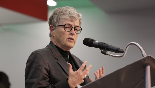 Michigan State University President Lou Anna K. Simon speaks during the announcement of the Michigan State University alumni Dan and Jennifer Gilbert's $15 million gift donation from their family foundation to impact and elevate student success in their basketball programs for both men and women on Wednesday, October 26, 2016 in Detroit  Jessica J. Trevino