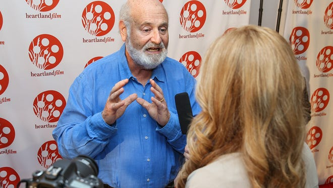 Director Rob Reiner during an interview on the red carpet on opening night of the Heartland Film Festival at the Indianapolis Museum of Art's Toby Theater, Indianapolis, Thursday, Oct. 12, 2017.