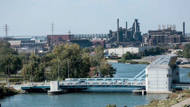 The Fort Street bascule bridge in Detroit with the Rouge complex in the background on Tuesday, September 26, 2017.