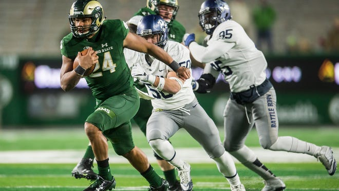 CSU running back Izzy Matthews, who is expected to become the Rams' featured back next year following the graduation of senior Dalyn Dawkins, breaks loose on a long run during an Oct. 14 win over Nevada at CSU Stadium.
