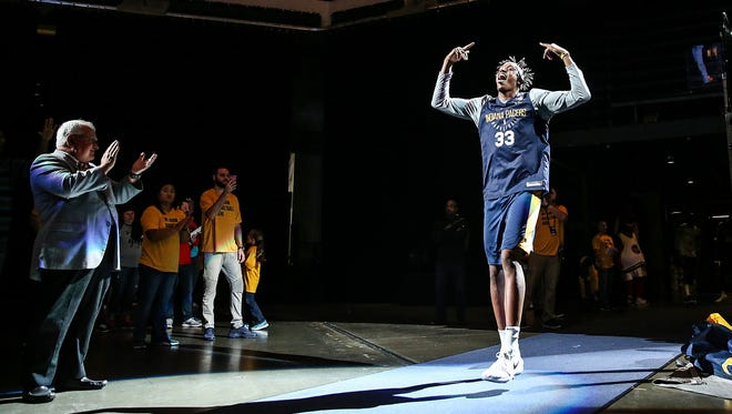 Indiana Pacers forward Myles Turner (33) takes the court for Indiana Pacers FanJam at Banker's Life Fieldhouse, Indianapolis, Sunday, Oct. 15, 2017.