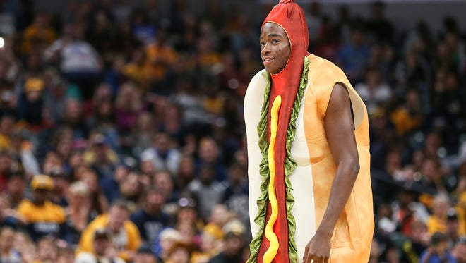 Indiana Pacers guard Edmond Sumner (5) after his rookie talent show lip sync performance in a hot dog suit, during the Indiana Pacers FanJam at Banker's Life Fieldhouse, Indianapolis, Sunday, Oct. 15, 2017.