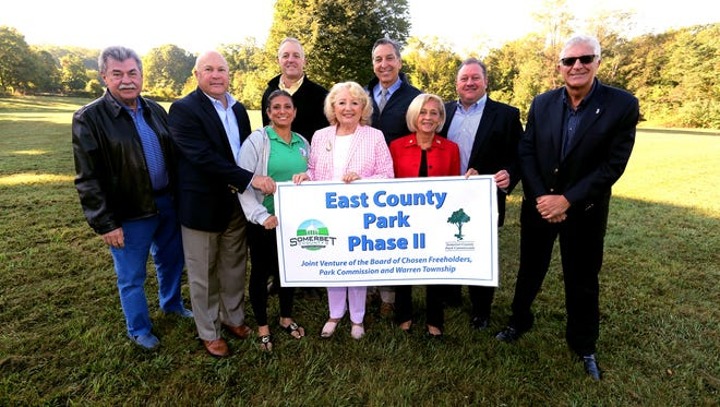 Somerset County Freeholder Patricia L. Walsh, Somerset County Park Commission and Warren Township officials recently kicked off Phase II of the 150-acre East County Park, bordered by Dubois, Reinman and Old Stirling roads. From left: Somerset County Park Commission Director Ray Brown, Township Committeeman George Lazo, Warren Township Recreation Commissioner Gina Rosenfarb, Somerset County Park Commissioner Kevin McCallen, Warren Township Mayor Carolann Garafola, Township Committeeman Gary DiNardo, Freeholder Patricia L. Walsh, Township Committeeman Mick Marion and Warren Township Deputy Mayor Victor Sordillo.