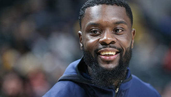Indiana Pacers guard Lance Stephenson (1) before taking on the Brooklyn Nets in the home opener at Banker's Life Fieldhouse, Indianapolis, Wednesday, Oct. 18, 2017. The Pacers won, 140-131.