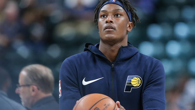 Indiana Pacers forward Myles Turner (33) before taking on the Brooklyn Nets in the home opener at Banker's Life Fieldhouse, Indianapolis, Wednesday, Oct. 18, 2017. The Pacers won, 140-131.