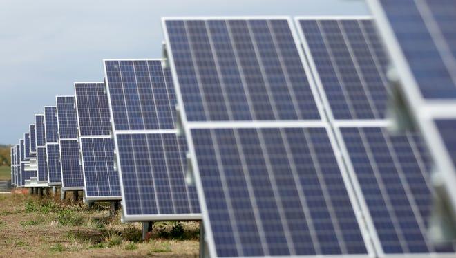 The Cypress Creek Renewables solar energy farm under construction near Silverton.