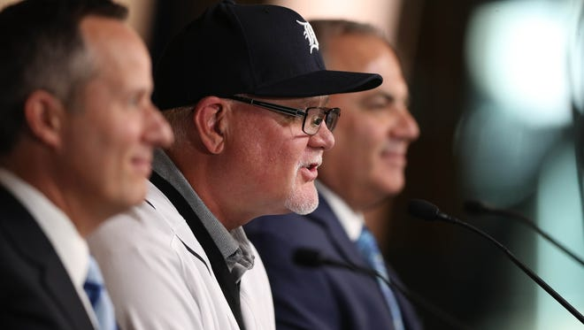 Chris Ilitch, Ron Gardenhire and Al Avila take questions after Ron was introduced as the new Tigers manager on Friday, October 20, 2017 at Comerica Park in Detroit.