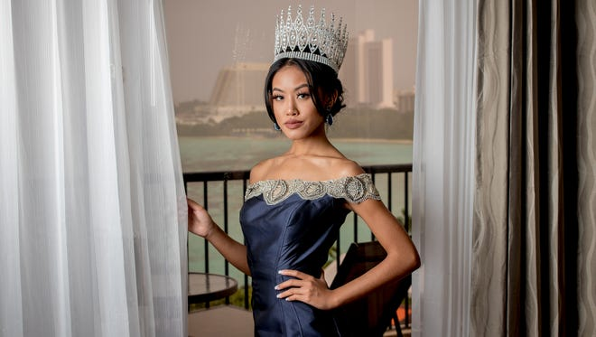 Miss World Guam 2017 Destiny Cruz poses for the camera the Tasi Executive Suite at Hilton Guam Resort and Spa on Oct. 16.