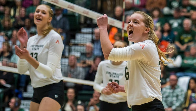 CSU volleyball players Maddi Foutz, right, and Kirstie Hillyer both come from the small town of Bayfield, Colorado.