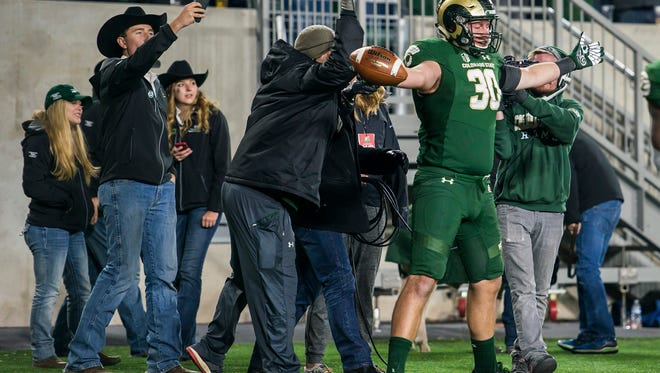 CSU tight end Dalton Fackrell celebrates after scoring a touchdown in the Rams' 44-42 win Oct. 14 over Nevada at CSU's on-campus stadium.