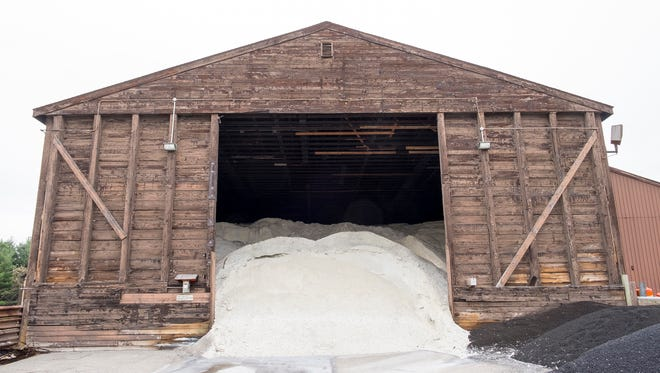 The salt barn at the St. Clair County Road Commission yard in Kimball Township is filled and ready for the snow season.