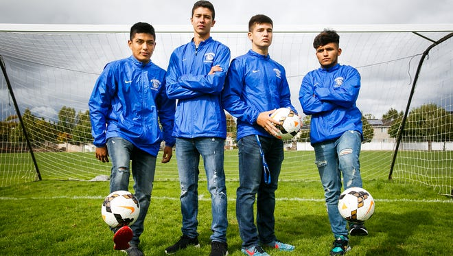 """(Left to right) Woodburn soccer co-captains Salvador Perez, Pedro Hernandez, Trevor Karsseboom and Jesus """"Chuy"""" Rodriguez on Wednesday, Sept. 20, 2017. The defending 5A state champions have a first-round matchup Wednesday at Ashland."""