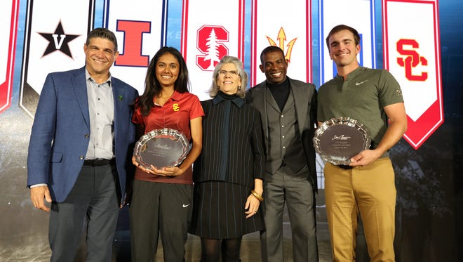 Former La Reina High and current USC golfer Divya Manthena, second from left, and Vanderbilt's Will Gordon, far right, were honored with the Tom Cousins Award, which is given annually to college golfers who excel in the classroom and the community.