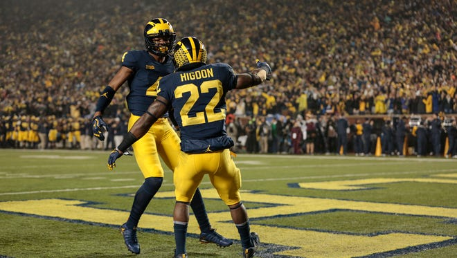 Michigan running back Karan Higdon (22) celebrates with teammate wide receiver Nico Collins (4) after scoring a touchdown during the first half against Minnesota at the Michigan Stadium in Ann Arbor, Saturday, November 4, 2017.
