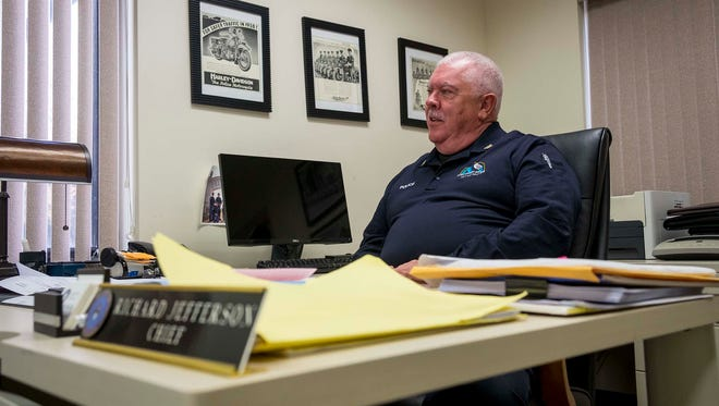 St. Clair Police Chief Richard Jefferson in his office Nov. 6. After more than 30 years on the force, Chief Jefferson is retiring.