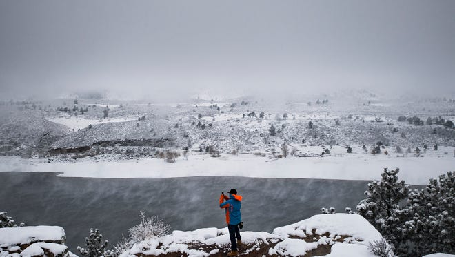 Front Range Community College junior Jon Bullman stops by Horsetooth Reservoir for  a few photos, Tuesday morning, Nov. 7, 2017, in Fort Collins, Colo.