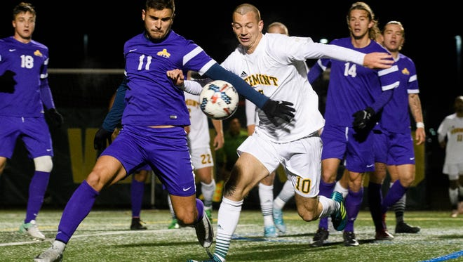 during the America East Conference semi final men's soccer game between the Albany Great Danes and the Vermont Catamounts at Virtue Field on Wednesday night November 8, 2017 in Burlington.