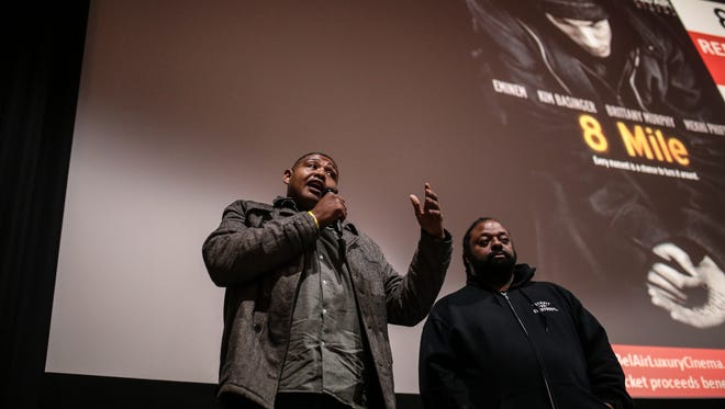 Actor Omar Benson Miller speaks to the audience, while standing with Bushman of WJLB, about starring in 8 Mile.