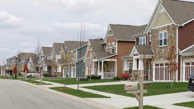 Homes line the streets in the Keeneland Park development in Westfield, Ind. on Tuesday, Nov. 7, 2017.