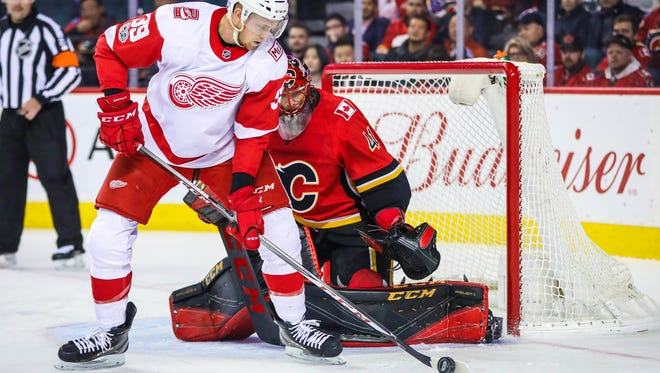 Red Wings forward Anthony Mantha had a goal and two assists against Calgary on Thursday night.