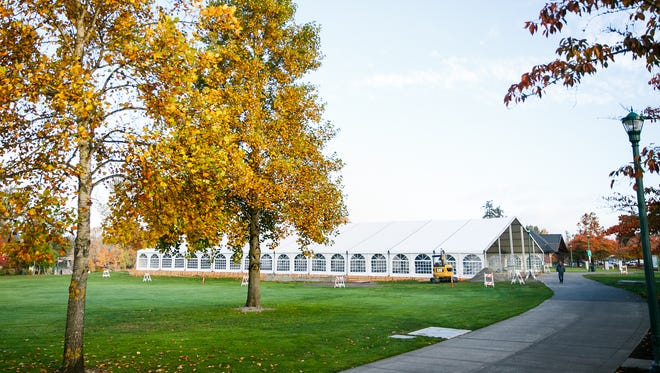 The tent that will house Salem On Ice is set up in Riverfront Park on Wednesday, Nov. 1, in Salem. The rink will open on Nov. 17.