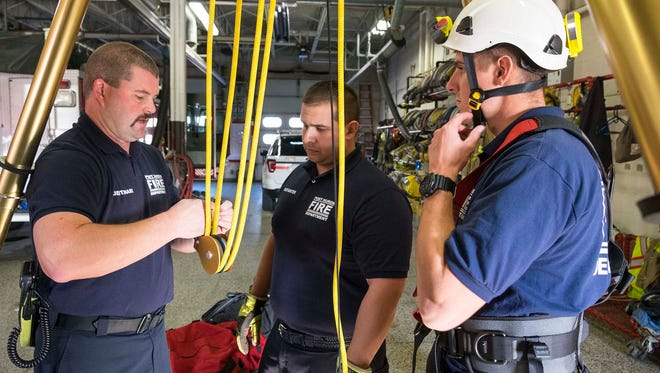 Port Huron Fire Lt. Kurt McFarlane, left, teaches recruits Cody Gordon, right, and Peter Lafata about equipment used for a confined space rescue during training Nov. 14.