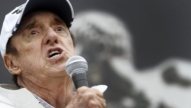 "Jim Nabors sings ""Back Home Again in Indiana"" at the 97th running of the Indianapolis 500, at the Indianapolis Motor Speedway, Sunday, May 26, 2013.  Kelly Wilkinson / The Star"