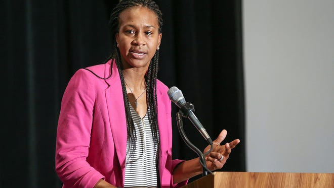 Retired Indiana Fever star Tamika Catchings speaks during the Youth Congress Day luncheon, part of National Black Caucus of State Legislators annual conference, Indianapolis, Thursday, Nov. 30, 2017. The annual legislative conference is hosted this year by the Indiana Black Caucus at the JW Marriott downtown.