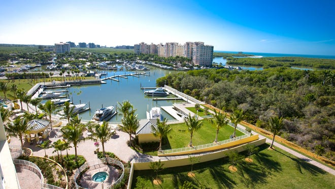 An unobstructed view of the Gulf of Mexico from the AQUA at Pelican Isle penthouse offering residents waterfront living due to its prime location adjacent to the Wiggins Pass Estuary in Naples.