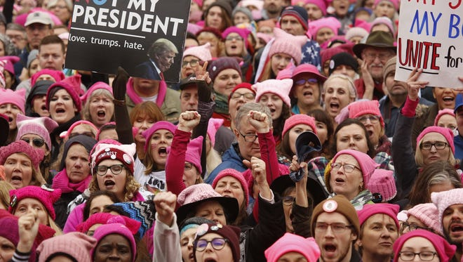 Thousands gather for the Women's March on Washington, D.C., ending at the White House on Saturday, Jan. 21, 2017.