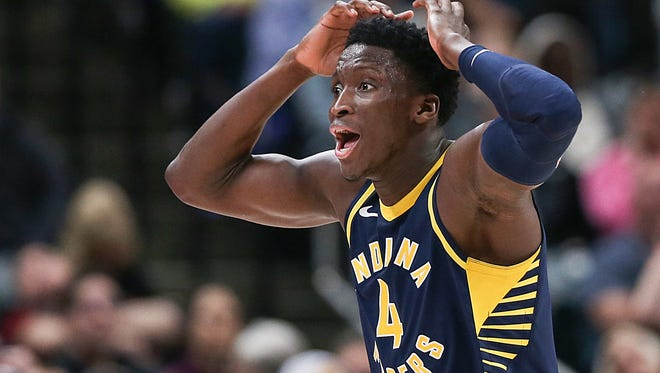 Indiana Pacers guard Victor Oladipo (4) reacts after being called for his fourth foul during fourth quarter action between the Indiana Pacers and Brooklyn Nets at Banker's Life Fieldhouse, Indianapolis, Saturday, Dec. 23, 2017. The Pacers won in overtime, 123-119.