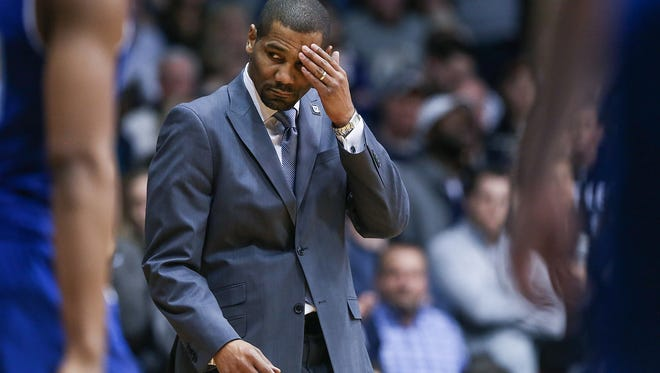 Butler Bulldogs head coach LaVall Jordan prepares to talk to the Bulldogs on a time out, as their lead slips away late in second half action between the Butler Bulldogs and Seton Hall Pirates at Hinkle Fieldhouse, Indianapolis, Saturday, Jan. 6, 2018. Seton Hall won, 90-87.