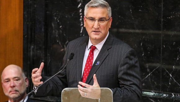 Gov. Eric Holcomb delivers his second State of the State address at the Indiana Statehouse in Indianapolis Jan. 9, 2018.
