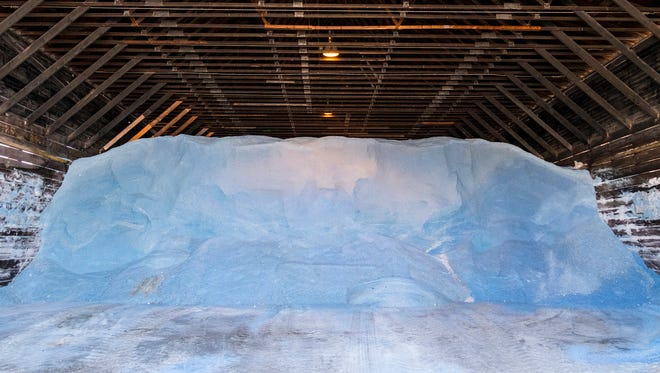 Salt fills a barn at the St. Clair County Road Commission Jan. 9.