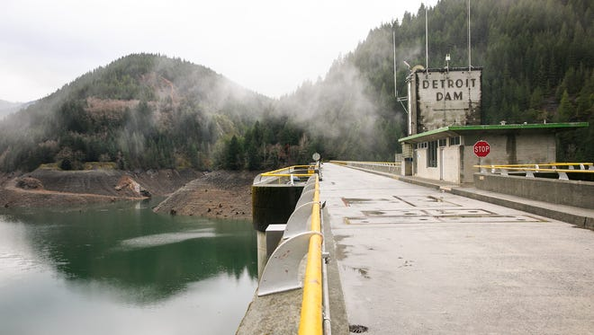 The Detroit Dam on January 12, 2018. The U.S. Army Corps of Engineers has proposed building a 300-foot tower at the dam to improve water temperature and fish passage for salmon and steelhead. Opponents of the plan are concerned about its impact on Salem's water supply, irrigation and the impact on tourism and economy to Detroit.