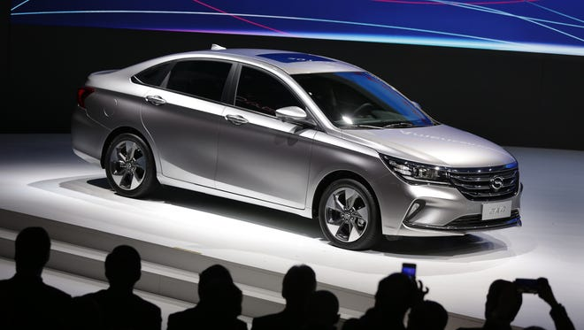 GAC Motor introduces the GAC GA4 sedan during the North American International Auto Show at Cobo Center in Detroit on Monday, January 14, 2018.