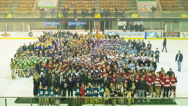 Teams take the ice during the opening ceremonies of the last weekend of the 2018 Silver Stick Finals at McMorran Arena Jan. 19.