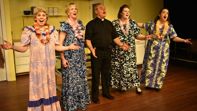 "The cast of the Jewel Box's ""Church Basement Ladies"" includes (from left) Christine Usher, Becky Eastgard, Carmen Pinto, Katie Richardson and Trina Williamson."