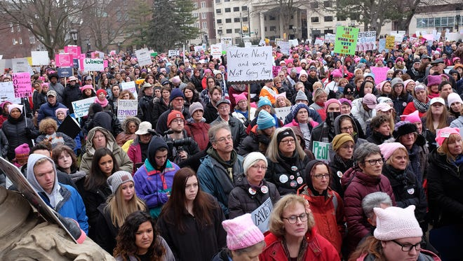 Thousands of people attend The Women's March in Lansing, Michigan Sunday, Jan. 21, 2018.