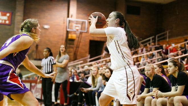 Willamette University's Kylie Towry (20) in a game against Linfield on Tuesday, Jan. 30, 2018. Towry is on the verge of becoming the leading women's scorer in school history, and after the game with Linfield is just two points shy of breaking the record of 1,309 points.