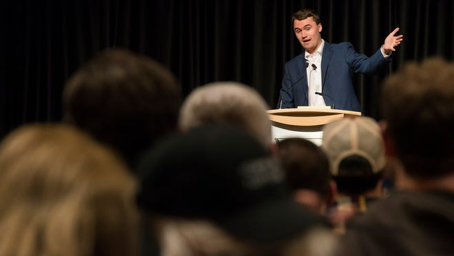 Charlie Kirk, a speaker for national conservative group Turning Point USA, gives his speech on Friday, Feb 2, 2018, at the Lory Student Center on campus at Colorado State University in Fort Collins, Colo.