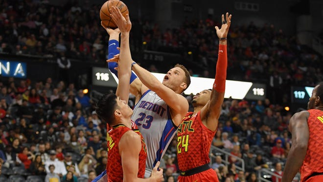 Pistons forward Blake Griffin shoots against the Hawks during the first half Sunday in Atlanta.