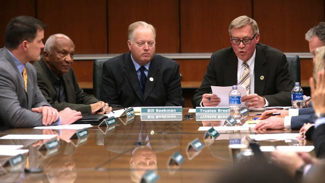 Michigan State University's board gathers in late January during the height of the Larry Nassar scandal. Two seats on the board are up for election this year.