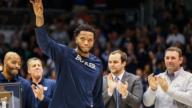 Butler Bulldogs forward Tyler Wideman (4) waves to the audience as he is recognized after Butler's senior night game against Creighton at Hinkle Fieldhouse in Indianapolis, Tuesday, Feb. 20, 2018.