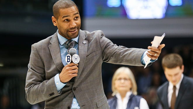 Butler Bulldogs head coach LaVall Jordan recognizes Tyler Wideman and Kelan Martin after Butler's senior night game against Creighton at Hinkle Fieldhouse in Indianapolis, Tuesday, Feb. 20, 2018.